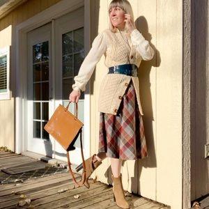 70s Plaid A-Line Midi Skirt Schoolgirl Academia